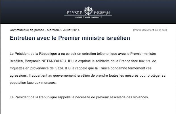 Rappelez-vous de ce communiqué de presse honteux dans lequel François Hollande annonçait son soutien inconditionnel aux massacres de l'armée d'occupation israélienne commis à Gaza.