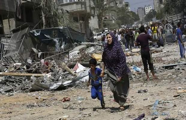 Une palestinienne et ses quatre enfants
