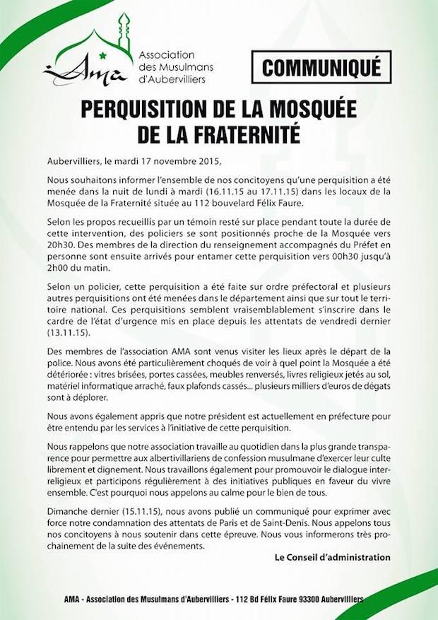 communique mosquee aubervilliers