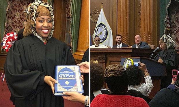 Walker-Diallo juge coran prête serment sur le Coran