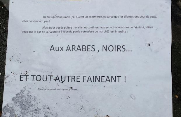 affiche raciste antoine arabes noirs
