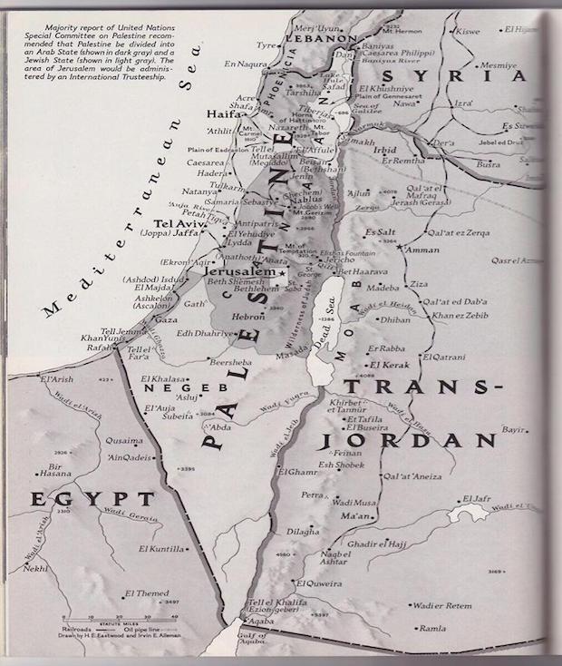 Carte de la palestine en 1947