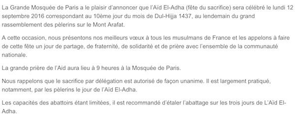 Mosquée de Paris aid al adha france