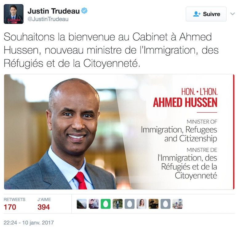 Ahmed Hussen ministre