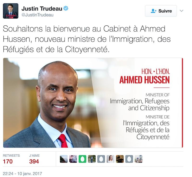 Ahmed Hussen ministre