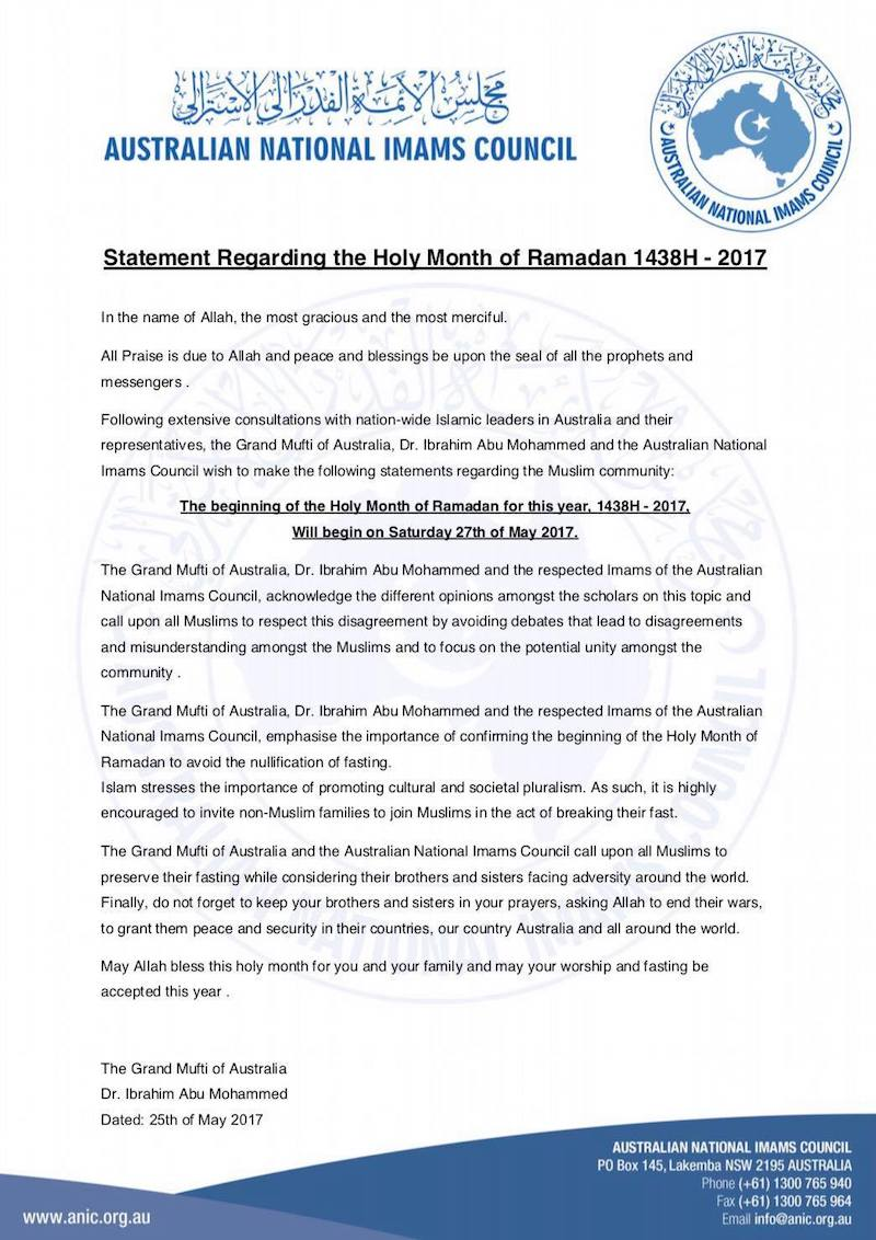 ramadan 2017 imams australie