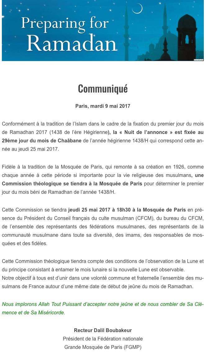 Nuit du doute 2017 communiqué de la mosquée de Paris