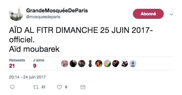 date de l'Aïd al fitr 2017