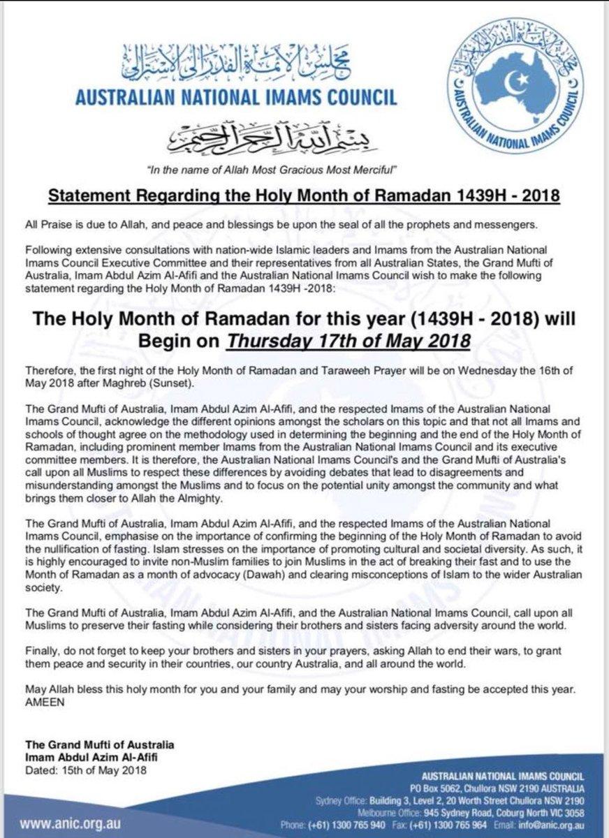 Ramadan 2018 en Australie