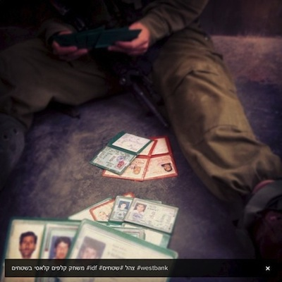 soldats israéliens jeux de carte palestinien